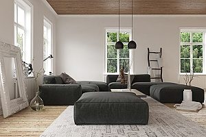 a large living room with black and gray furniture as well as a good indoor humidity level so that the homeowners can consistently feel comfortable