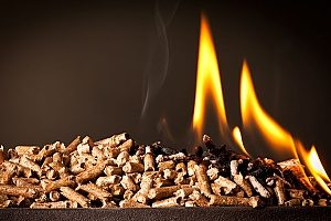 wood pellets that are being burned in a pellet stove that was installed by an HVAC contractor in Gaithersburg, MD