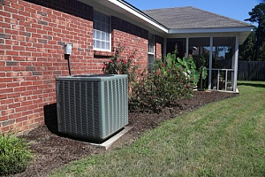 central air unit in backyard