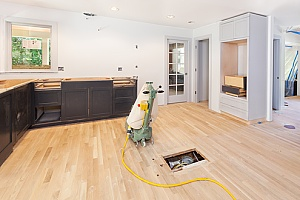 a floor heating system being cleaned