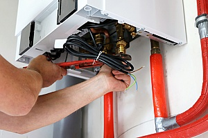a gas furnace that is part of a radiant heating system