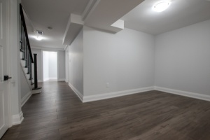 finished basement with baseboard heaters