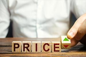 Wooden blocks spelling price