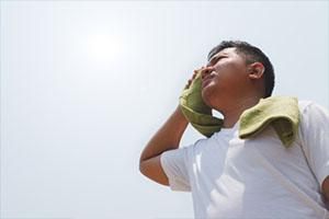 Human experiencing heat discomfort