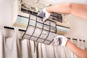 Check the air conditioner filter for damage